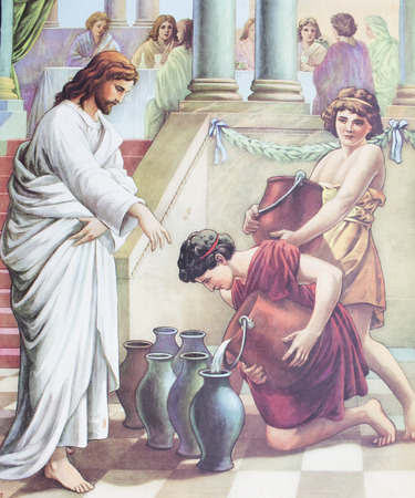 first miracle: CHIANGMAI, THAILAND - November 11, 2016. Printed image of Jesus changes water to wine at Cana in Grace Church Chiangmai, Thailand . Printed from mid of 19 cent. Originally by unknown artist. Editorial