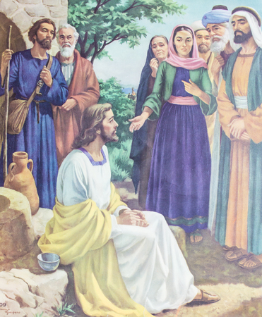 CHIANGMAI, THAILAND - November 11, 2016. Printed image of Jesus and Samaritan people in Grace Church Chiangmai, Thailand . Printed from mid of 19 cent. Originally by unknown artist.