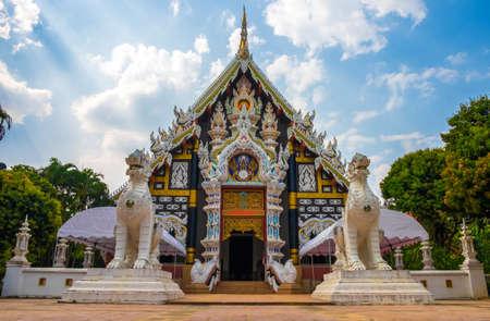 Wat phra jao prom maharaj Temple (watpamaidang) in chiangmai, Thailand. Stock Photo