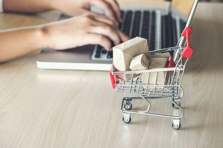 Internet online shopping concept, woman shopping online is a form of electronic commerce from a seller over internet.