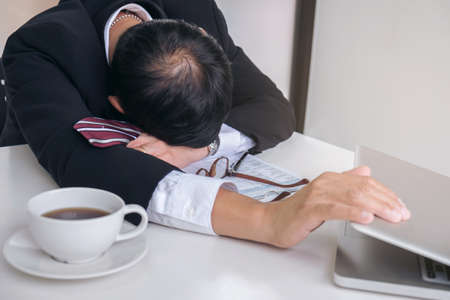 Feeling sick and tired, businessman frustrated and stress to resignation.