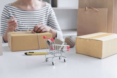 money packs: Internet online shopping concept, Young seller woman preparing package to be sent Mail transportation, service network connection market, technology on global, Order online for customer convenience.