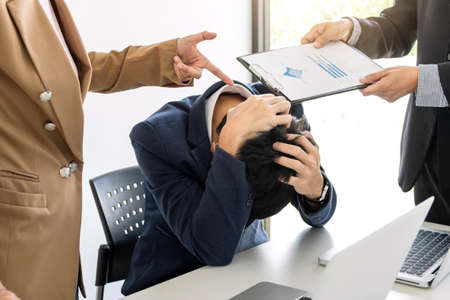 Business people conflict problem working in team turns into fight.