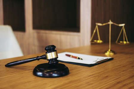 Judge gavel with Justice lawyers, object documents working on table. Legal law, advice and justice concept. Stok Fotoğraf