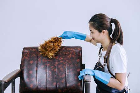 Housekeeping and cleaning concept, Happy young woman in blue rubber gloves wiping dust using a duster while cleaning on sofa at home.