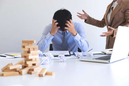 Blaming business concept, Female executive manager blaming employee for mistake or failure, business team have disagreement in office arguing on work issues.