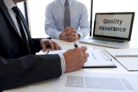 Agent man presentation and consulting life insurance detail to customer and waiting for his reply agreement to finish. Stock fotó - 127571983