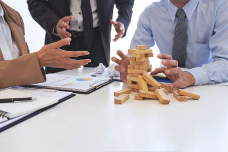 Blaming business concept, Senior executive manager blaming employee for mistake or failure, business team have disagreement in office arguing on work issues. Stock Photo