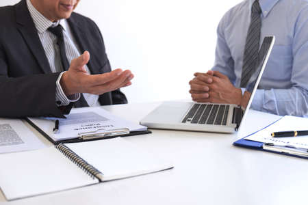 Agent man presentation and consulting life insurance detail to customer and waiting for his reply agreement to finish.