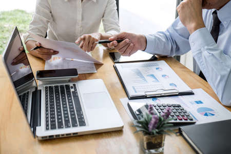 Business team manager meeting discussing company project success financial statistics, Professional investor working start up project for strategy plan with growth profit investment. Stock Photo