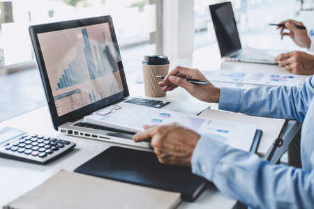 Professional Business teamwork conference project success financial statistics growth profit, Partner meeting business investor working start up project for both company with document data graph.