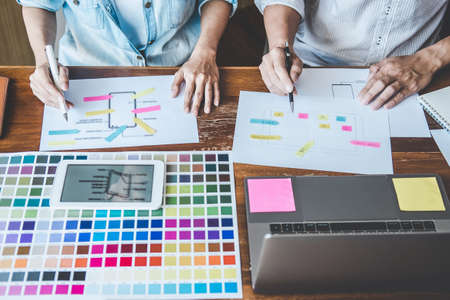 Team of Creative Web/Graphic Designer planning, drawing website ux app for mobile phone application and development template layout, process to developing prototype wireframe, User experience concept.