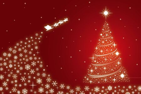 Christmas card of Santa Claus with snowflakes Ilustração
