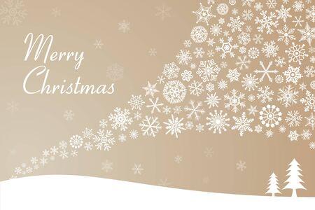 Beige Snow Crystal Christmas Card