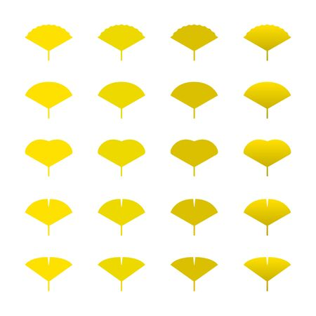 Yellow, ginkgo, leaves, illustration, various colors