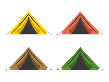 triangle tent, brown, green, amber, yellow