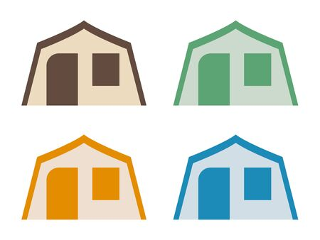 House Tent, Brown, Green, Amber, Blue