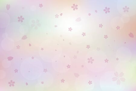 Colorful cherry blossom petals falling background