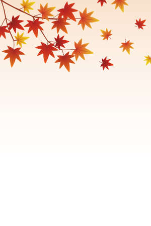 Gradient background with autumn leaves falling 矢量图片