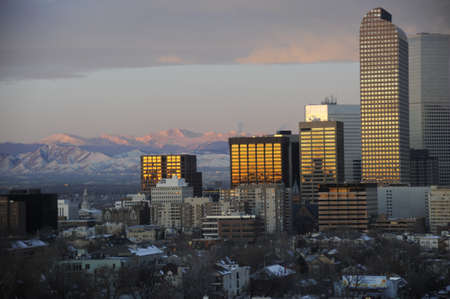 Denver Colorado Skyline and Dusk Stock Photo - 15984166