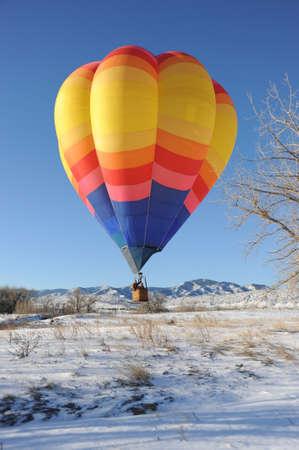 ballooning: Hot Air Ballooning during the Winter Stock Photo
