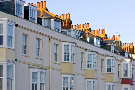 Row of Victorian Guest Houses in Weymouth, southern England