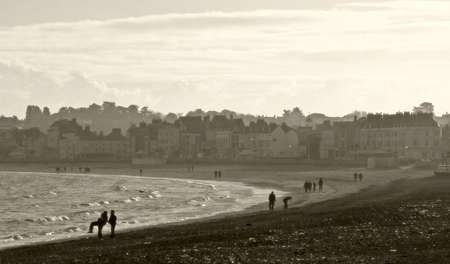 tradional: Traditional seaside beach at Weymouth in Dorset, England on a cold winter day.