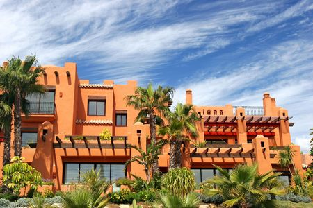 priced: Luxury apartments and gardens on new, sunny urbanisation in Puerto Banus, Spain Stock Photo