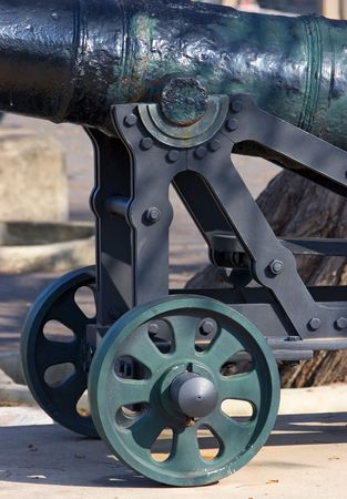 moveable: Original, cast iron and historical cannon in Gibraltar on a sunny day Stock Photo