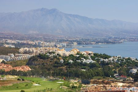 sol: Views of Duquesa and Manilva golf through to Marbella and La Concha mountain Manilva Sabanillas and duquesa are all up and coming areas on the Costa del Sol Stock Photo