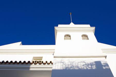 pueblo: Plain white building in traditional Pueblo on the Costa del Sol in Spain Stock Photo