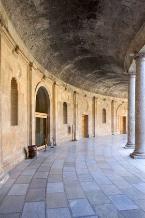 wood pillars: Beautiful arena and architecture of the ancient Alhambra Palace in Granada on the Costa del Sol in Spain Editorial