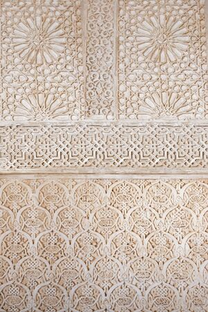 costa del sol: Beautiful patterns and architecture of the ancient Alhambra Palace in Granada on the Costa del Sol in Spain