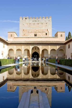 costa del sol: Beautiful pond and architecture of the ancient Alhambra Palace in Granada on the Costa del Sol in Spain