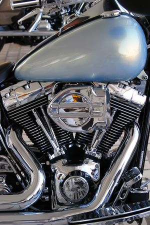 footplate: Beautiful chrome engine and tank of custom chopper motorbike or motorcycle