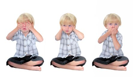 covering eyes: Three photos of young boy or child depicting the phrase or term See no evil, Hear no evil, Speak no evil. Image has white, isolated background. Stock Photo