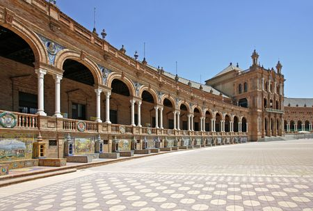 espana: The beautiful and ancient Plaza de Espana in Seville, Andalucia, Spain