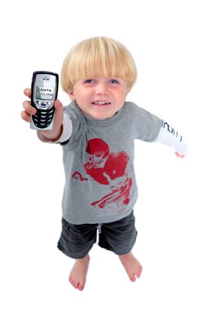 Happy young boy holding mobile phone with screen showing that santa or Father  is calling with white isolated background