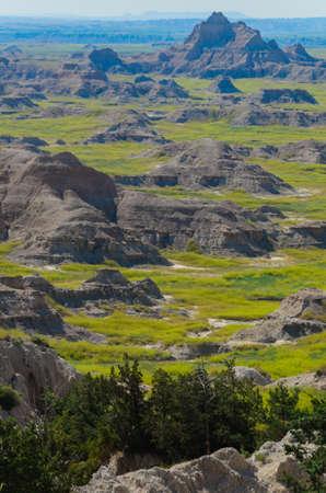 scoria: Scenic view of the Badlands National Park in South Dakota in spring