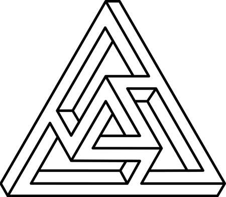 Double infinity triangle template. Black and white