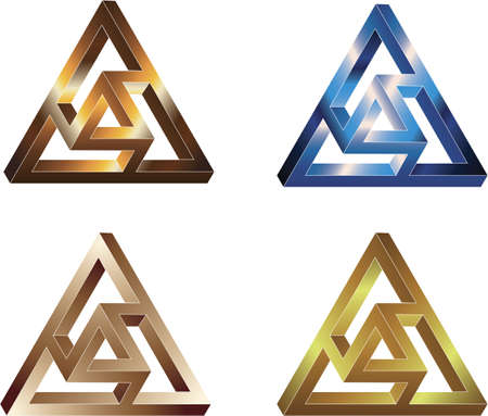 Impossible figure - Double Moebius triangle. Four colors Illustration