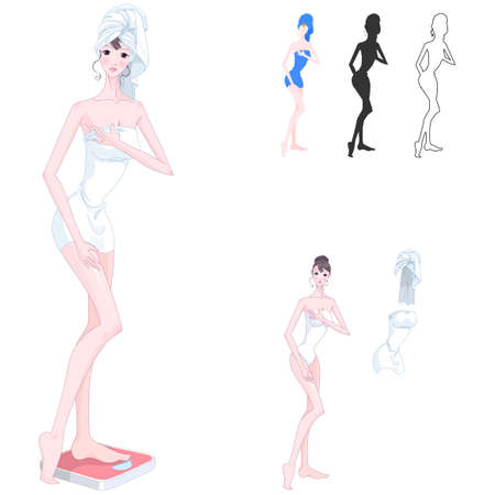 digitally enhanced or generated: Representation of woman standing on bathroom scale