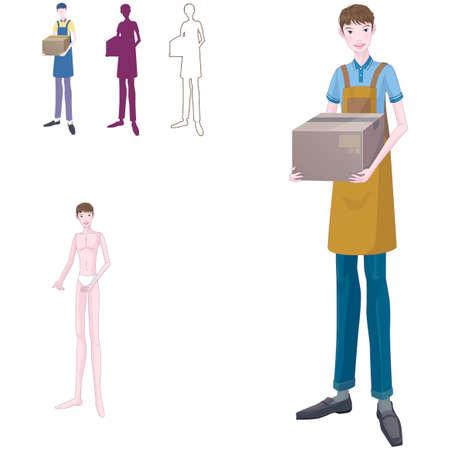 man carrying box: Representation of man carrying box LANG_EVOIMAGES