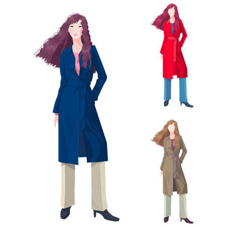 trench coat: Representation of a woman in trench coat LANG_EVOIMAGES