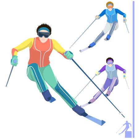 leisureliness: Representation of a skier with ski pole and ski