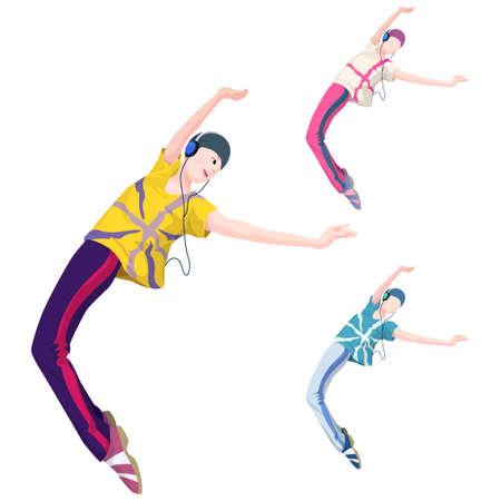 leisureliness: Representation of a hip hop dancer with headphones LANG_EVOIMAGES