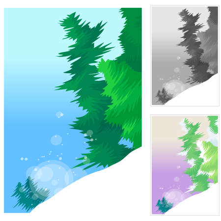 digitally enhanced or generated: Representation of trees in snow against sky