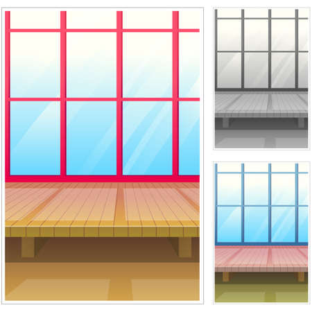 digitally enhanced or generated: Representation of wooden structure by glass window