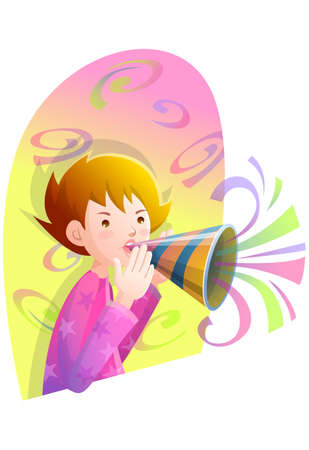 digitally enhanced or generated: Representation of a boy blowing horn