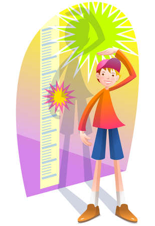 cheerfulness: Boy measuring against height chart LANG_EVOIMAGES